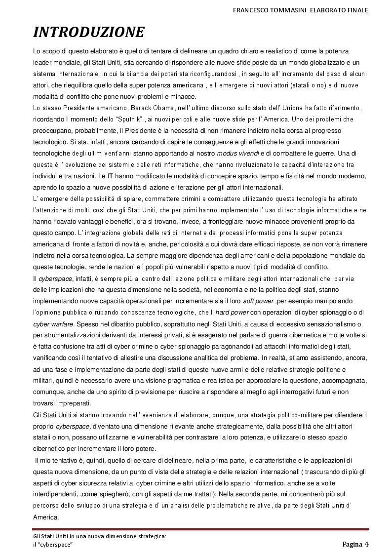 Anteprima della tesi: Gli Stati Uniti in una nuova dimensione strategica: il ''cyber-space'', Pagina 2