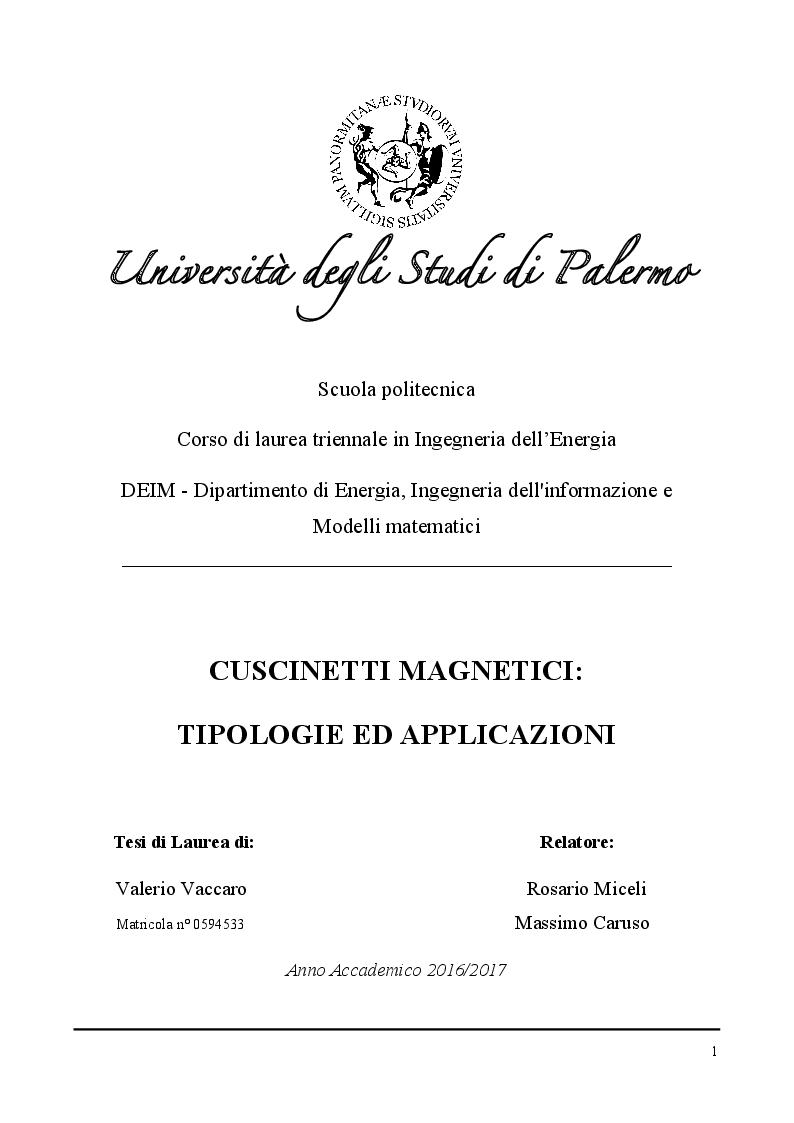 Anteprima della tesi: Cuscinetti magnetici: tipologie ed applicazioni, Pagina 1