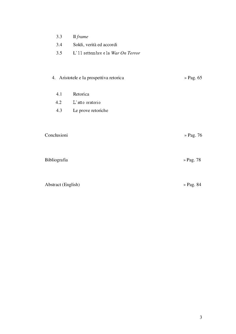 Indice della tesi: Dalle parallele convergenti alla guerra al terrore, Pagina 2