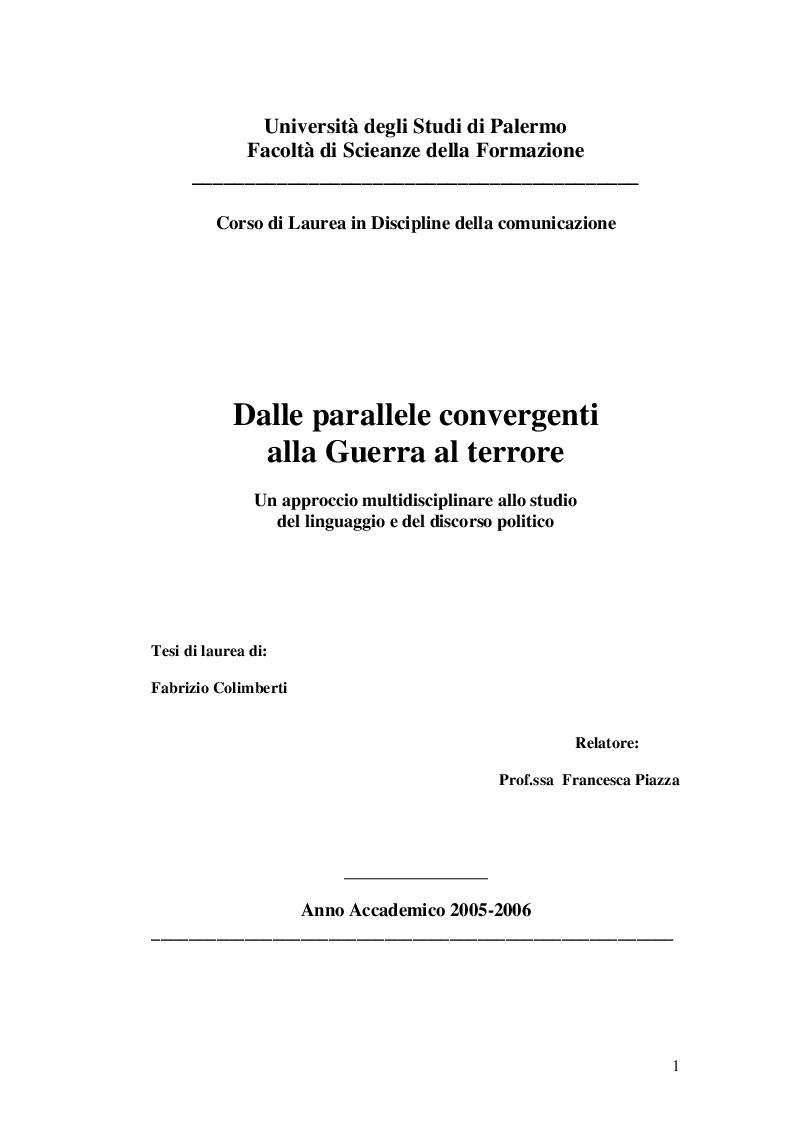 Anteprima della tesi: Dalle parallele convergenti alla guerra al terrore, Pagina 1