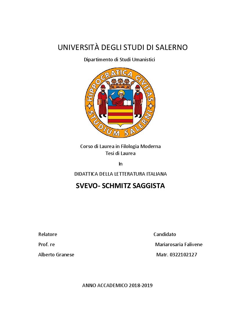 Anteprima della tesi: Svevo-Schimtz Saggista, Pagina 1