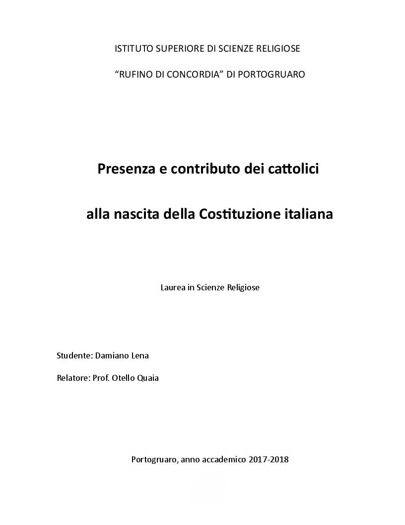 Anteprima della tesi: Presenza e contributo dei cattolici alla nascita della Costituzione italiana, Pagina 1