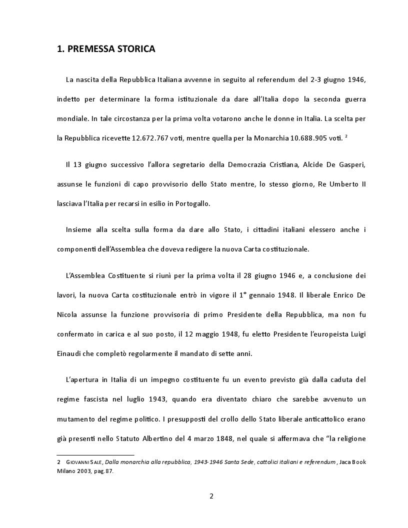Anteprima della tesi: Presenza e contributo dei cattolici alla nascita della Costituzione italiana, Pagina 3