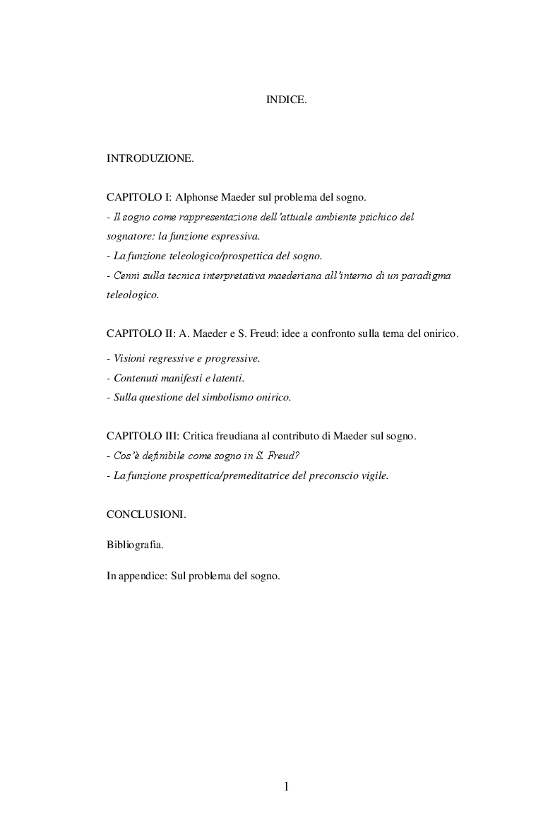 Indice della tesi: Sul problema del sogno di Alphonse E. Maeder una proposta sulla funzione psichica dell'onirico., Pagina 1