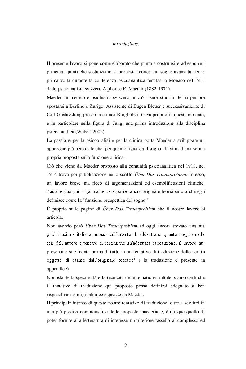 Anteprima della tesi: Sul problema del sogno di Alphonse E. Maeder una proposta sulla funzione psichica dell'onirico., Pagina 2