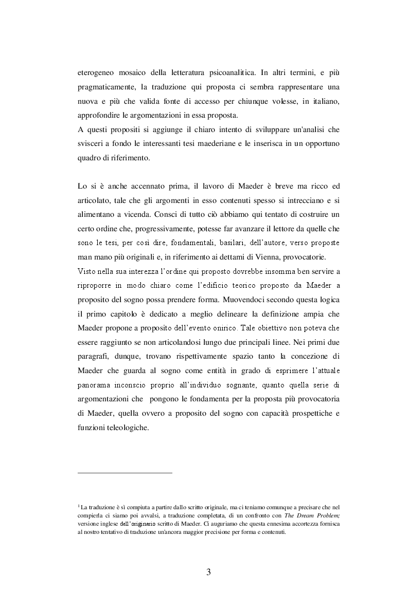 Anteprima della tesi: Sul problema del sogno di Alphonse E. Maeder una proposta sulla funzione psichica dell'onirico., Pagina 3