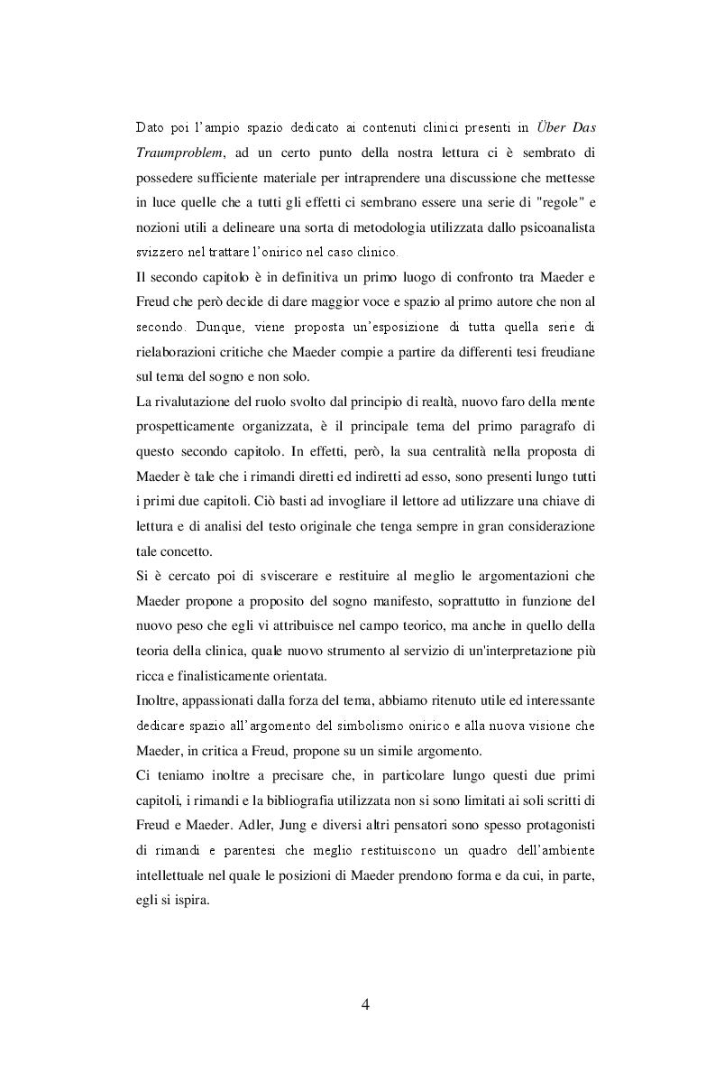 Anteprima della tesi: Sul problema del sogno di Alphonse E. Maeder una proposta sulla funzione psichica dell'onirico., Pagina 4