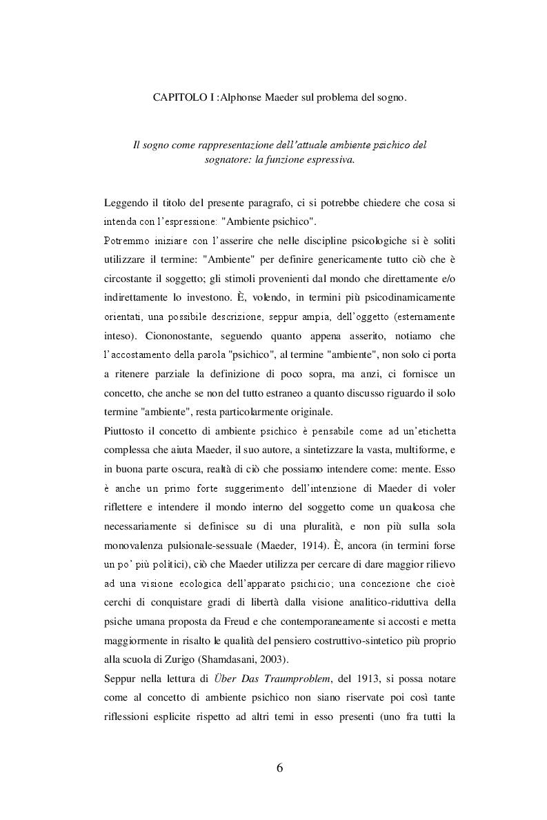 Anteprima della tesi: Sul problema del sogno di Alphonse E. Maeder una proposta sulla funzione psichica dell'onirico., Pagina 6