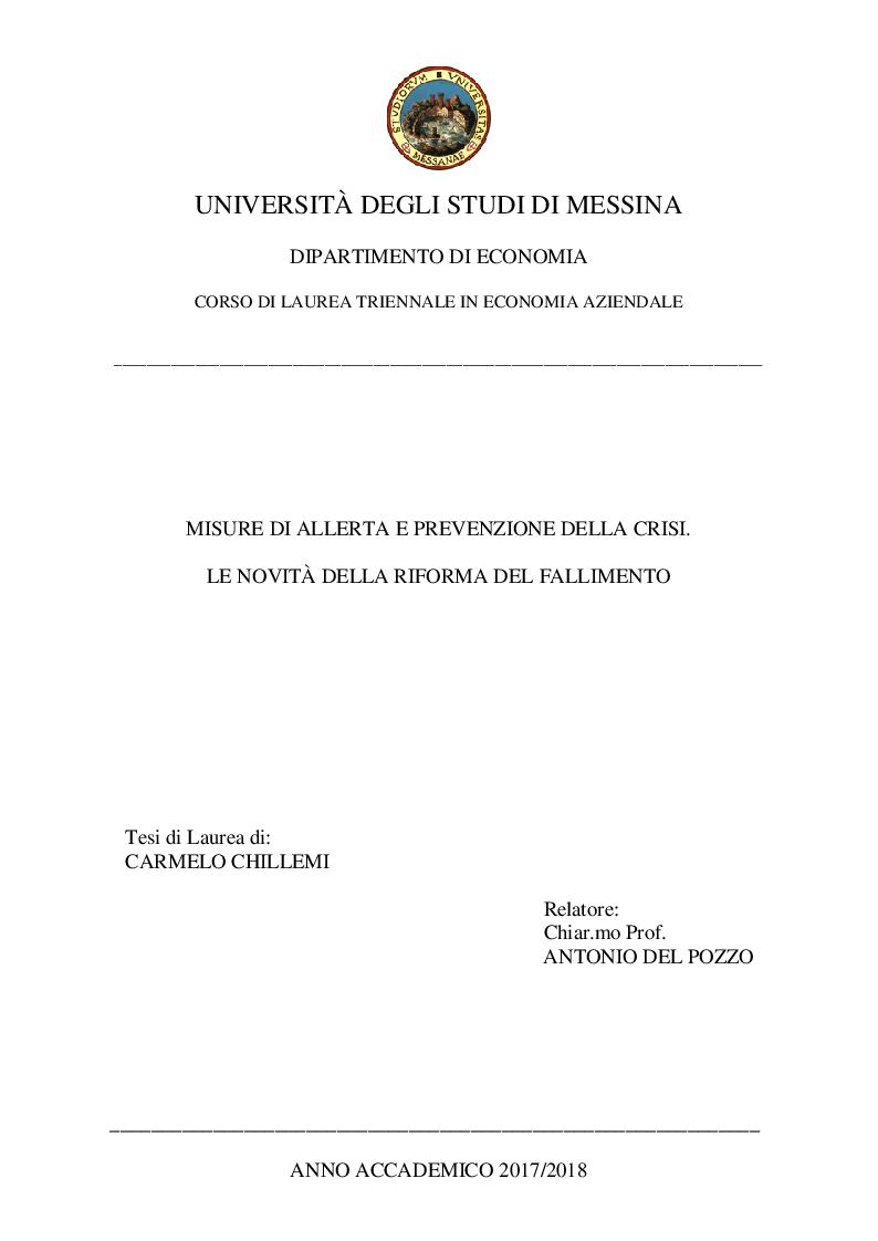 Anteprima della tesi: Misure di allerta e prevenzione della crisi. Le novità della riforma del fallimento, Pagina 1