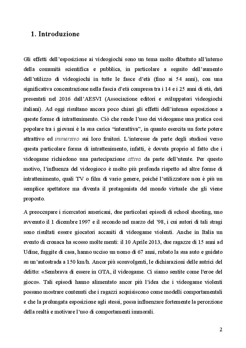 Anteprima della tesi: Gli effetti dei videogiochi violenti sul comportamento degli adolescenti, Pagina 2