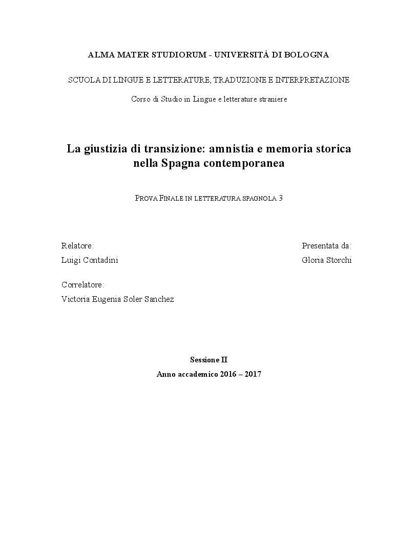 Anteprima della tesi: La giustizia di transizione: amnistia e memoria storica nella Spagna contemporanea, Pagina 1