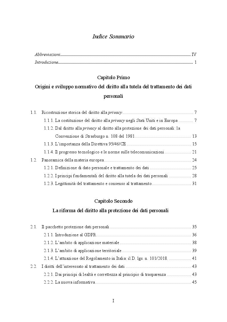 Indice della tesi: Il Regolamento UE 2016/679 e il bilanciamento tra diritti degli interessati e obblighi dei titolari del trattamento, Pagina 1