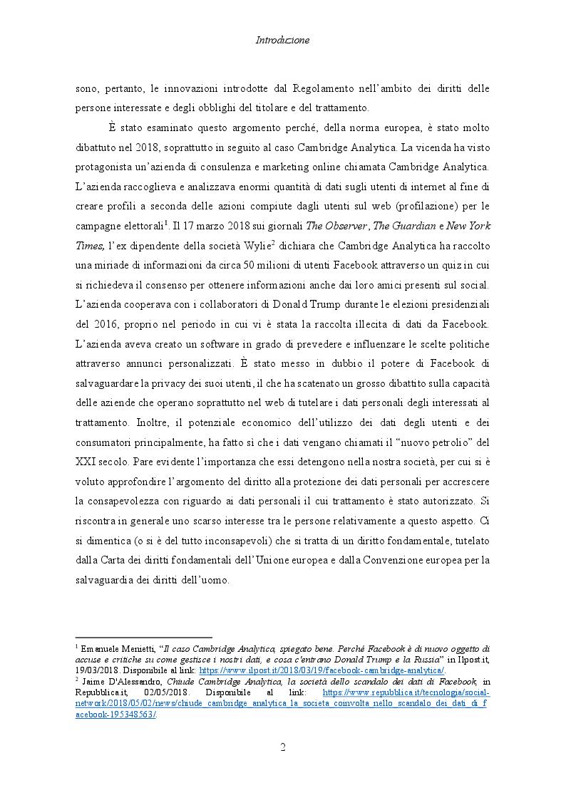 Anteprima della tesi: Il Regolamento UE 2016/679 e il bilanciamento tra diritti degli interessati e obblighi dei titolari del trattamento, Pagina 3