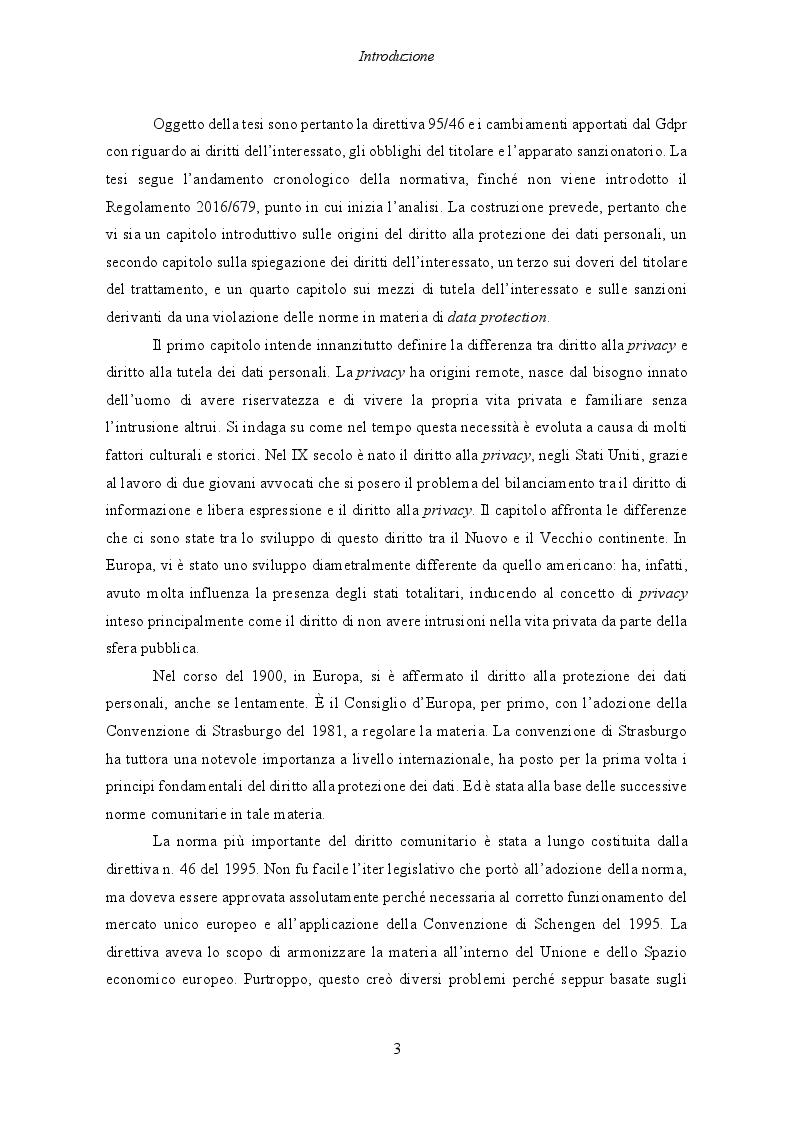 Anteprima della tesi: Il Regolamento UE 2016/679 e il bilanciamento tra diritti degli interessati e obblighi dei titolari del trattamento, Pagina 4