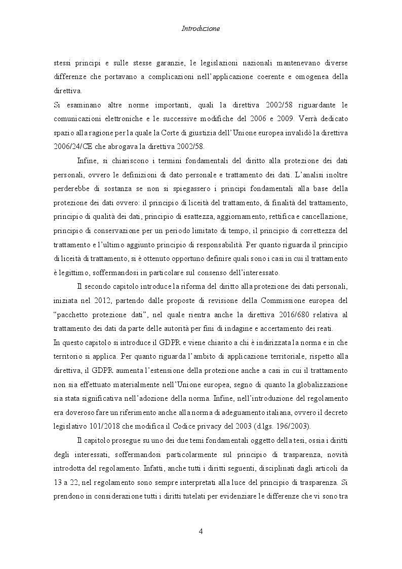 Anteprima della tesi: Il Regolamento UE 2016/679 e il bilanciamento tra diritti degli interessati e obblighi dei titolari del trattamento, Pagina 5