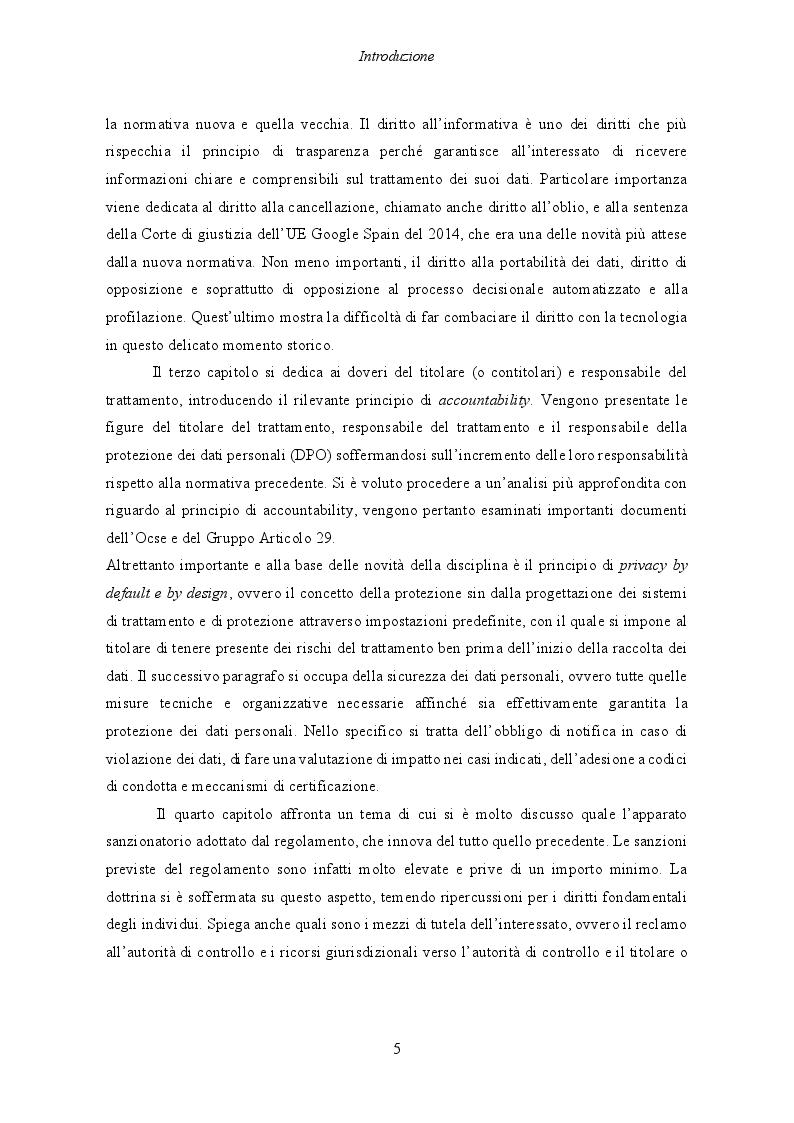 Anteprima della tesi: Il Regolamento UE 2016/679 e il bilanciamento tra diritti degli interessati e obblighi dei titolari del trattamento, Pagina 6