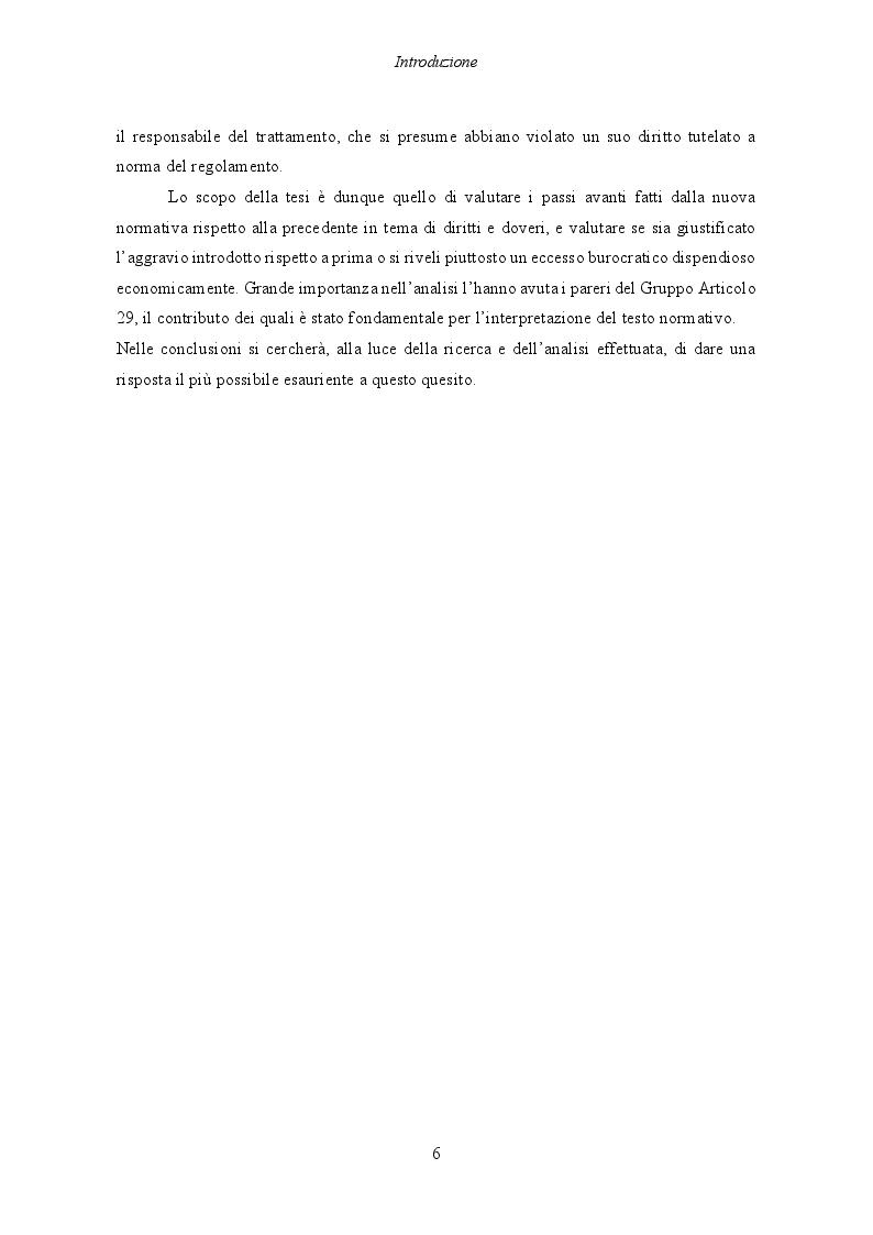 Anteprima della tesi: Il Regolamento UE 2016/679 e il bilanciamento tra diritti degli interessati e obblighi dei titolari del trattamento, Pagina 7