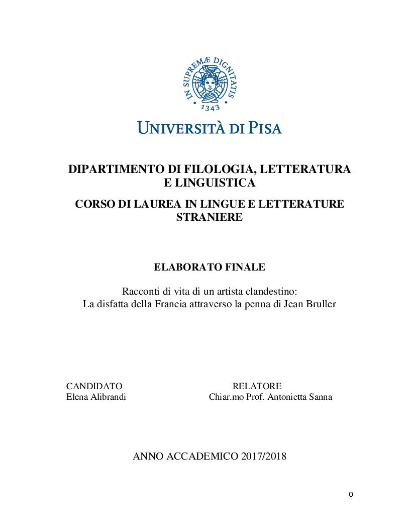 Anteprima della tesi: Racconti di vita di un artista clandestino: la disfatta della Francia attraverso la penna di Jean Bruller, Pagina 1