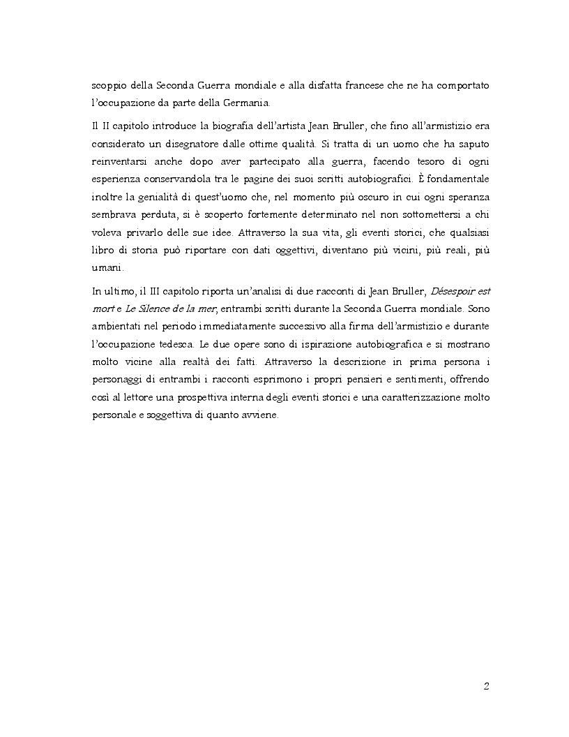 Anteprima della tesi: Racconti di vita di un artista clandestino: la disfatta della Francia attraverso la penna di Jean Bruller, Pagina 3