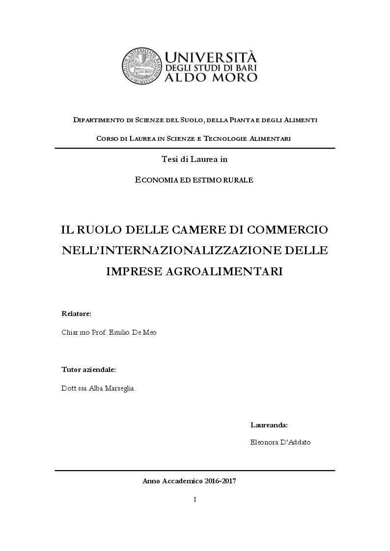 Anteprima della tesi: Ruolo delle Camere di Commercio nell'internazionalizzazione delle imprese agroalimentari, Pagina 1