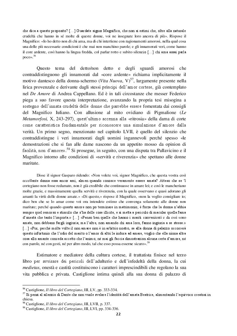 Anteprima della tesi: Intorno al terzo libro del Cortegiano: un discorso sulla donna detto al maschile, Pagina 3