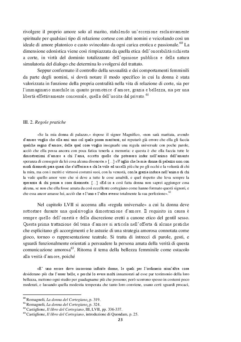 Anteprima della tesi: Intorno al terzo libro del Cortegiano: un discorso sulla donna detto al maschile, Pagina 4