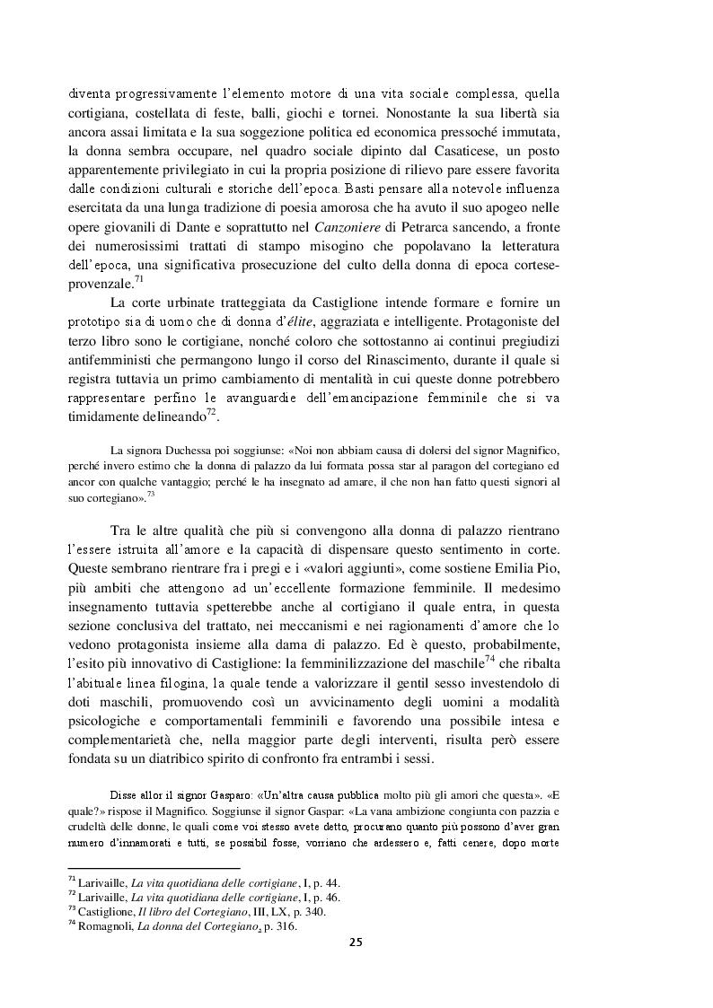 Anteprima della tesi: Intorno al terzo libro del Cortegiano: un discorso sulla donna detto al maschile, Pagina 6