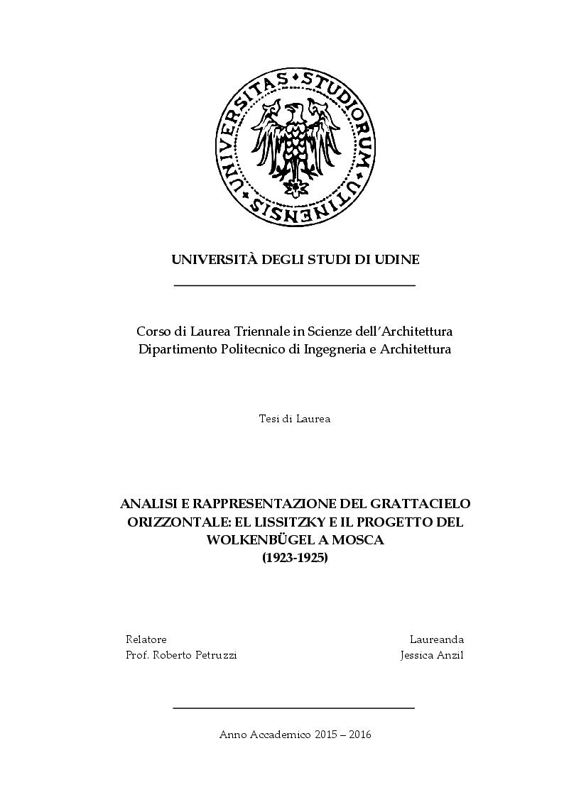 Anteprima della tesi: Analisi e rappresentazione del grattacielo orizzontale: El Lissitzky e il progetto del Wolkenbugel a Mosca (1923-1925), Pagina 1
