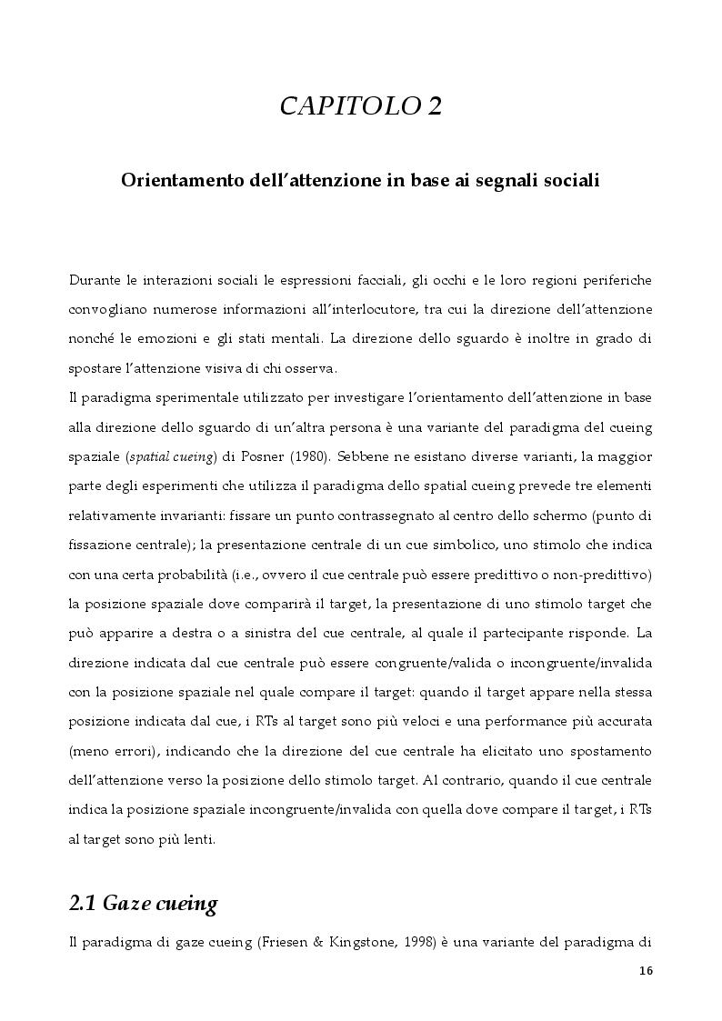 Anteprima della tesi: L'attenzione per segnali sociali negli anziani, Pagina 4