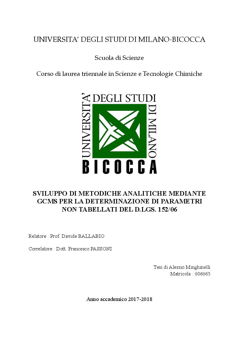 Anteprima della tesi: Sviluppo di metodiche analitiche mediante GCMS per la determinazione di parametri non tabellati del D.lgs. 152/06, Pagina 1