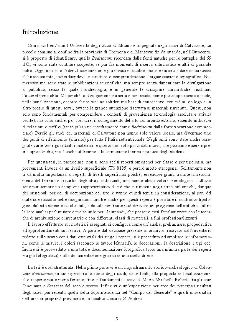 Anteprima della tesi: Analisi preliminare dei materiali del livello superficiale (US 8185) della campagna di scavo UniMI 2014 a Calvatone-Bedriacum, Pagina 2