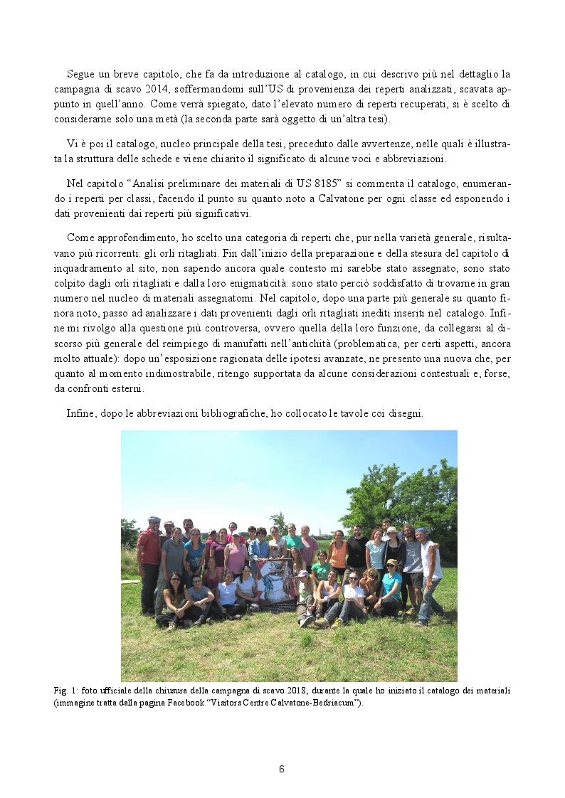 Anteprima della tesi: Analisi preliminare dei materiali del livello superficiale (US 8185) della campagna di scavo UniMI 2014 a Calvatone-Bedriacum, Pagina 3
