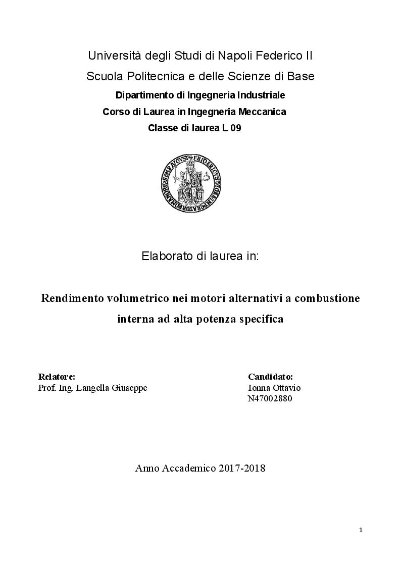 Anteprima della tesi: Rendimento volumetrico nei motori alternativi a combustione interna ad alta potenza specifica, Pagina 1