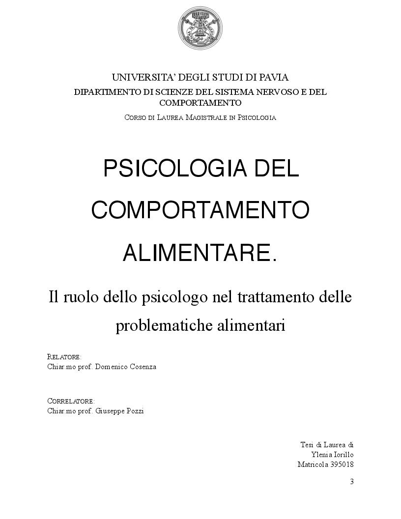 Anteprima della tesi: Psicologia del comportamento alimentare. Il ruolo dello psicologo nel trattamento delle problematiche alimentari, Pagina 1