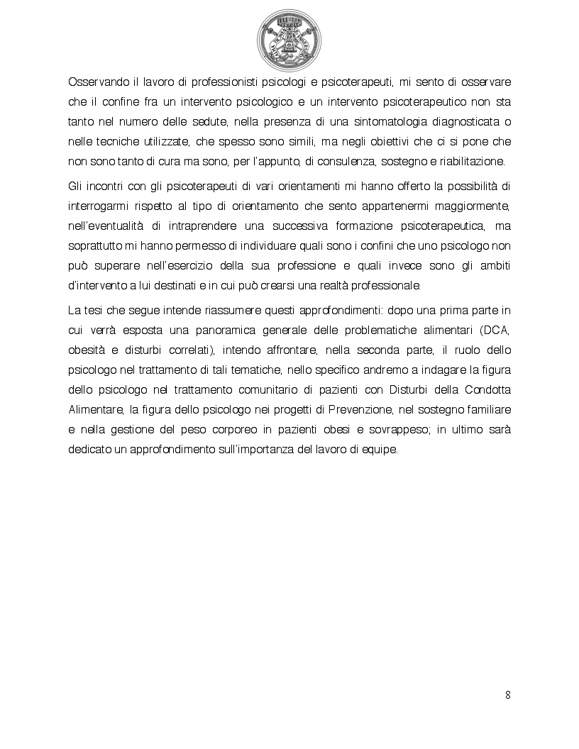 Anteprima della tesi: Psicologia del comportamento alimentare. Il ruolo dello psicologo nel trattamento delle problematiche alimentari, Pagina 3