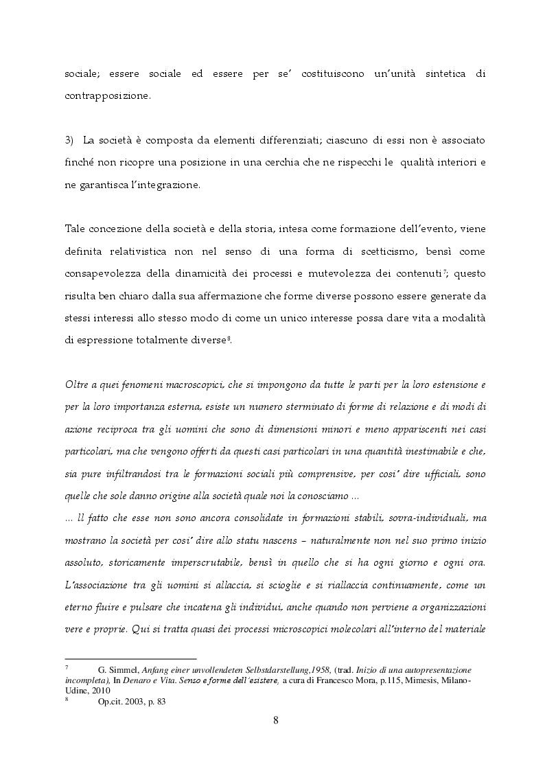 Estratto dalla tesi: La dialettica tra Vita e Forma nella riflessione di Georg Simmel