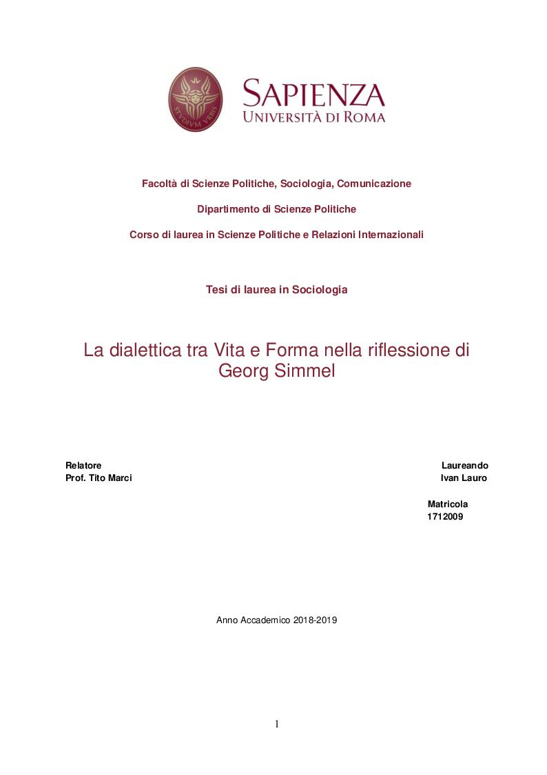 Anteprima della tesi: La dialettica tra Vita e Forma nella riflessione di Georg Simmel, Pagina 1