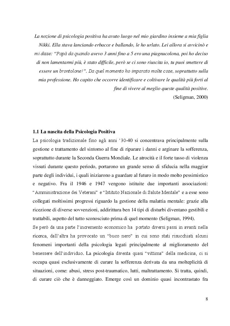 Anteprima della tesi: Coltivare il benessere attraverso il pensiero psicologico positivo, Pagina 5