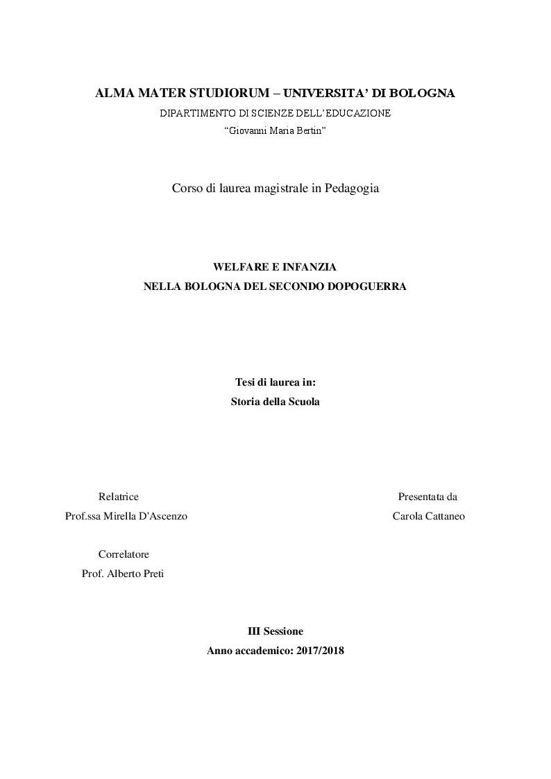 Anteprima della tesi: Welfare e infanzia nella Bologna del secondo dopoguerra, Pagina 1