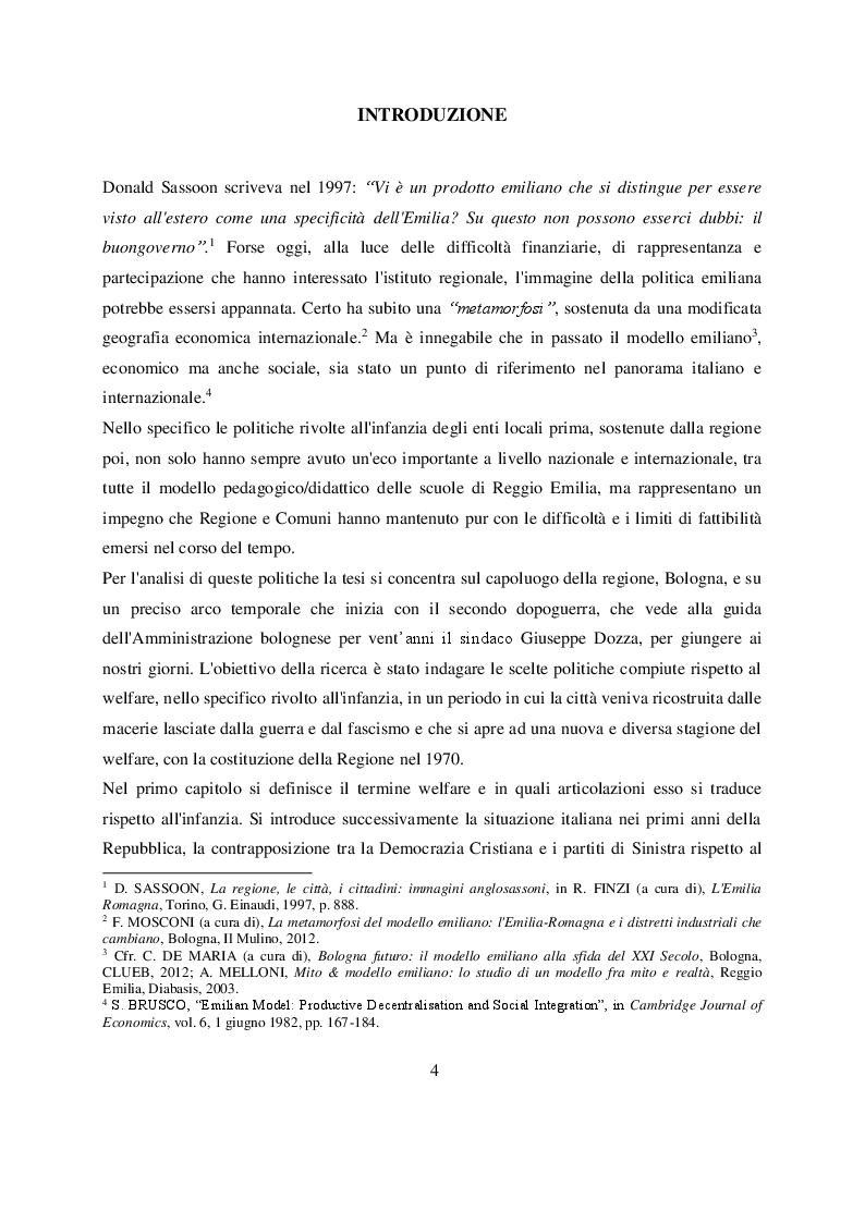 Anteprima della tesi: Welfare e infanzia nella Bologna del secondo dopoguerra, Pagina 2