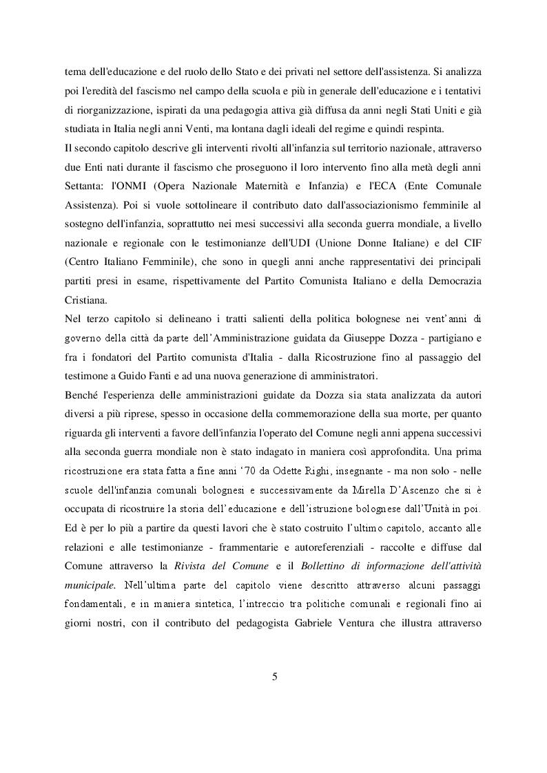 Anteprima della tesi: Welfare e infanzia nella Bologna del secondo dopoguerra, Pagina 3