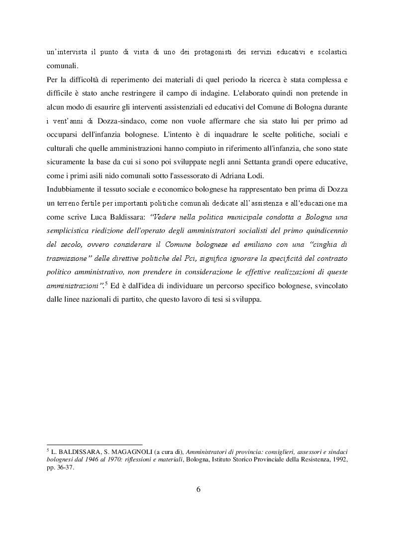 Anteprima della tesi: Welfare e infanzia nella Bologna del secondo dopoguerra, Pagina 4