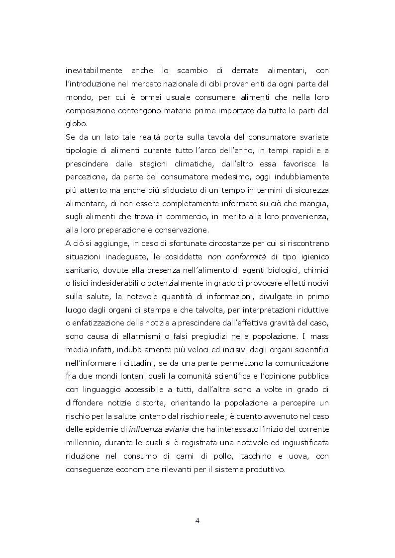 Anteprima della tesi: Funzioni del Coordinatore Tecnico della Prevenzione nell'Ambiente e nei Luoghi di Lavoro, nell'ambito dell'attività di controllo ufficiale degli alimenti di competenza del SIAN, Servizio di Igiene degli Alimenti e della Nutrizione, Pagina 3