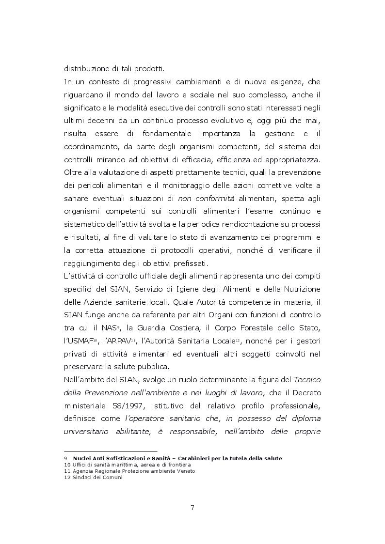 Anteprima della tesi: Funzioni del Coordinatore Tecnico della Prevenzione nell'Ambiente e nei Luoghi di Lavoro, nell'ambito dell'attività di controllo ufficiale degli alimenti di competenza del SIAN, Servizio di Igiene degli Alimenti e della Nutrizione, Pagina 6