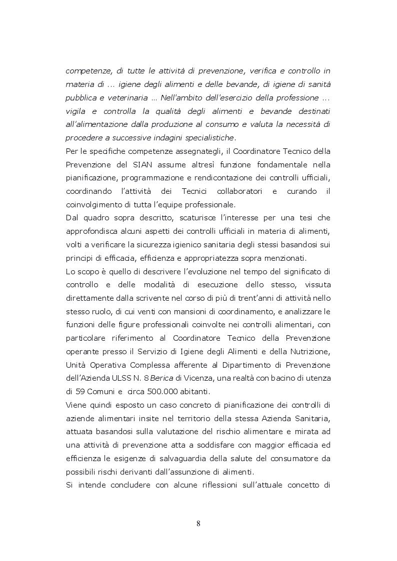 Anteprima della tesi: Funzioni del Coordinatore Tecnico della Prevenzione nell'Ambiente e nei Luoghi di Lavoro, nell'ambito dell'attività di controllo ufficiale degli alimenti di competenza del SIAN, Servizio di Igiene degli Alimenti e della Nutrizione, Pagina 7