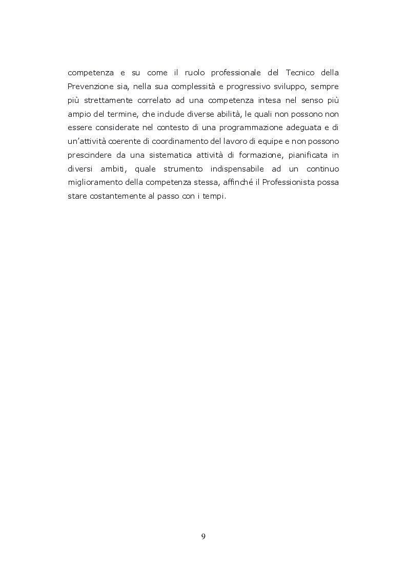 Anteprima della tesi: Funzioni del Coordinatore Tecnico della Prevenzione nell'Ambiente e nei Luoghi di Lavoro, nell'ambito dell'attività di controllo ufficiale degli alimenti di competenza del SIAN, Servizio di Igiene degli Alimenti e della Nutrizione, Pagina 8