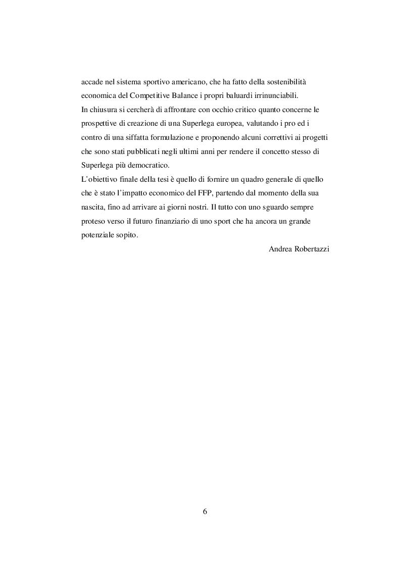 Anteprima della tesi: Nascita ed evoluzione del Financial Fair Play: dalle criticità economiche ai possibili modelli alternativi, Pagina 3