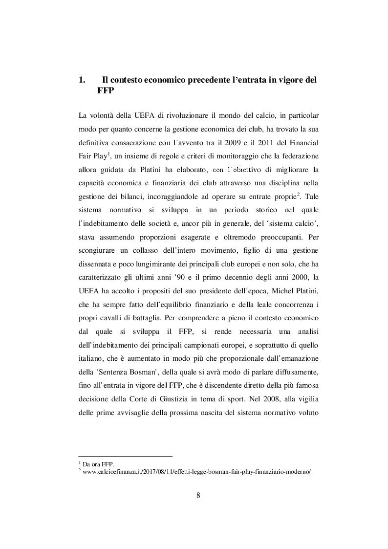 Anteprima della tesi: Nascita ed evoluzione del Financial Fair Play: dalle criticità economiche ai possibili modelli alternativi, Pagina 5