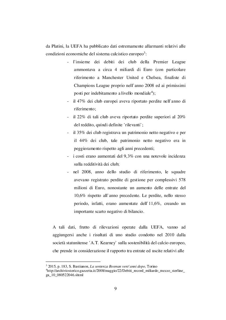 Anteprima della tesi: Nascita ed evoluzione del Financial Fair Play: dalle criticità economiche ai possibili modelli alternativi, Pagina 6