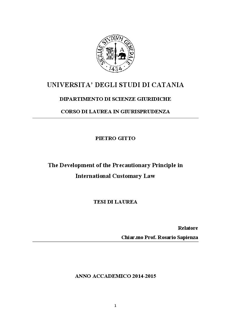 Anteprima della tesi: The development of the Precautionary Principle in International Customary Law, Pagina 1